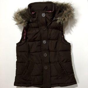 Aeropostale Faux Fur hood Puffer Vest sz M